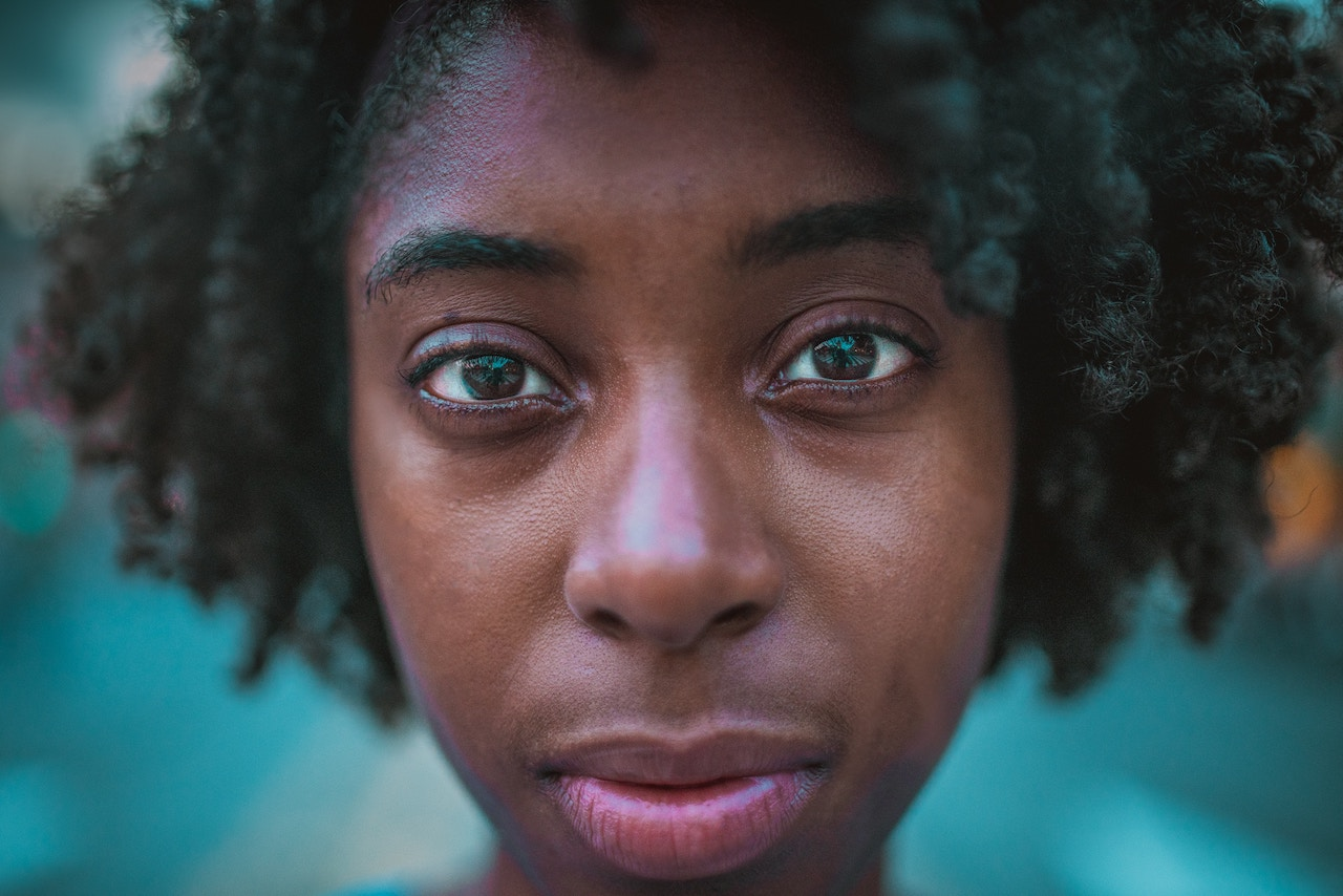 Woman with blank stare, emotional disorders