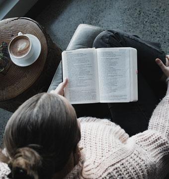 Woman Reading Bible Drinking Coffee