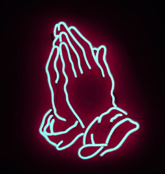 Neon Pink Prayer Hands Symbol